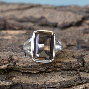 Octagon-Smoky-Quartz-925-Sterling-Silver-Artisan-Handmade-Lovely-Gift-Ring