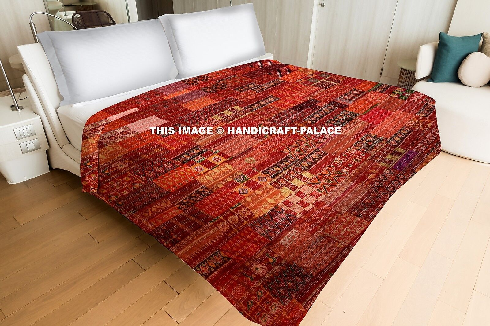 Indian Vintage Patola Silk Sari Kantha Quilt Patchwork Bettspread Throw Gudari