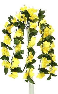 26 Hibiscus Yellow Hanging Bush Silk Flowers Wedding Bouquets