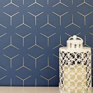 Monde De Papier Peint Metro Illusion Geometrique Bleu Dore Wow005