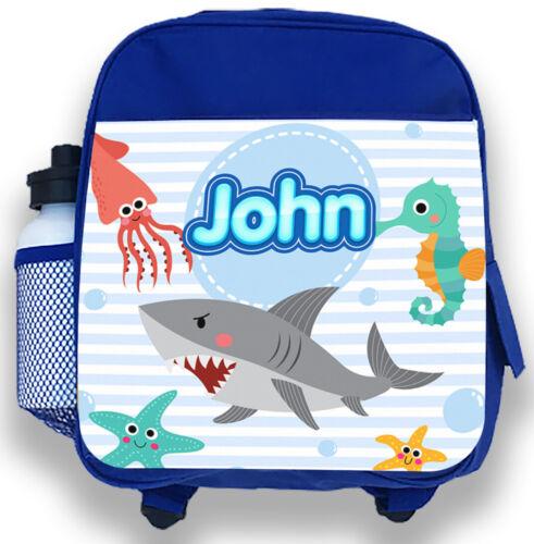 Personalised Kids Backpack Any Name Shark Boys Childrens School Bag 5