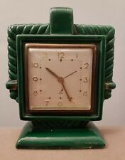 JAZ Mantle Clock. French 1920's Art Deco. Rare Green China Case. Working.