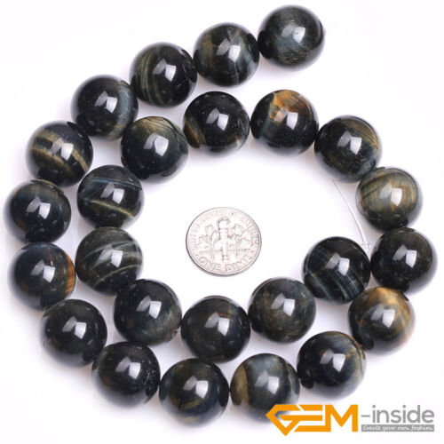 """Blue Tiger/'s Eye Gemstone Round Loose Spacer Beads For Jewelry Making Strand 15/"""""""