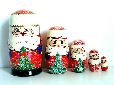 New Hand Painted 7/'/' Tall Russian Nesting Doll 5 Piece Set Made In Russia