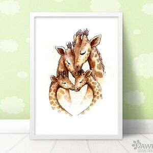Family Of 4 Giraffe Nursery Art Print