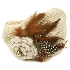 Winter Hand Knit Feathers Flower Hat Cap Fascinator Headband Head Piece Sand