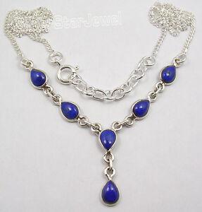 925-Sterling-Silver-NAVY-BLUE-LAPIS-LAZULI-Drop-Stones-ELEGANT-Necklace-18-5-8-034