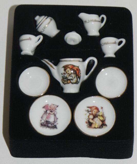 Dollhouse Miniature Hummel Tea Set Cream Sugar Reutter Porcelain 1:12 Scale