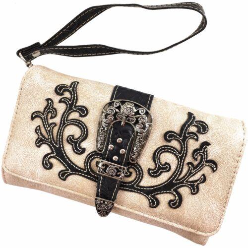 Justin West Western Floral Cut Stud Buckle Conceal Carry Large Handbag Purse Set