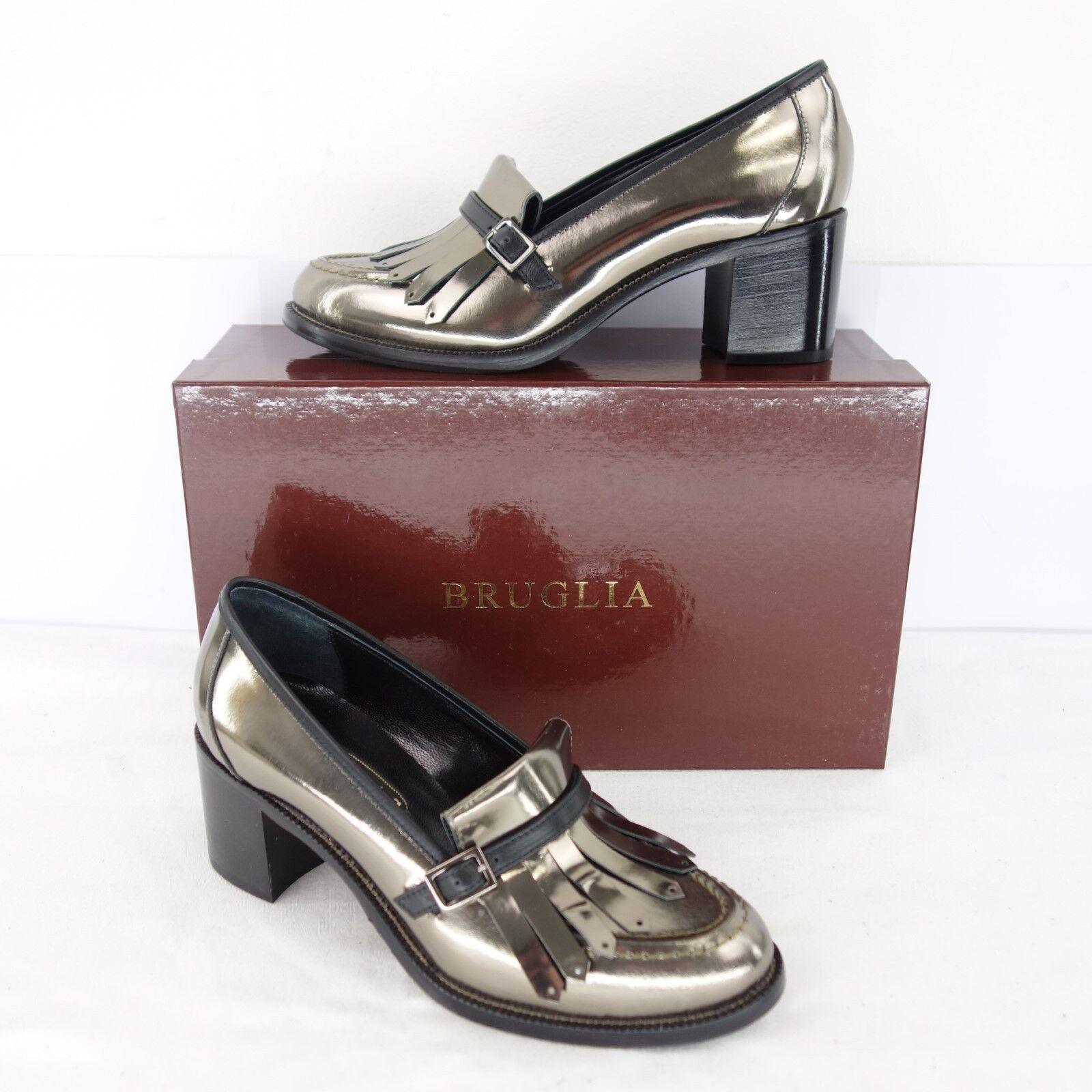 Bruglia loafer PUMPS 6170 Argento Metallizzato Pelle Scarpe da Donna Taglia 37 NP 235 NUOVO