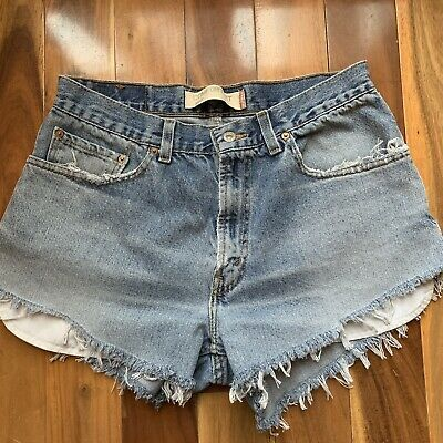 New Levi/'s Womens 32574 Medium Blue Wash Cut Off Denim Jean Skirt Short Size 27