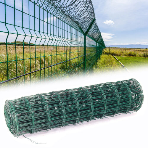 Stakes Chickens Fencing PVC GREEN COATED Wire Mesh Grid Welding Fence 9 1.5 1.8M