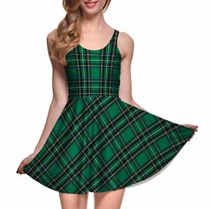 Green-Plaid-Tartan-School-Girl-Look-Lightweight-Summer-Stretchy-Fun-Skater-Dress
