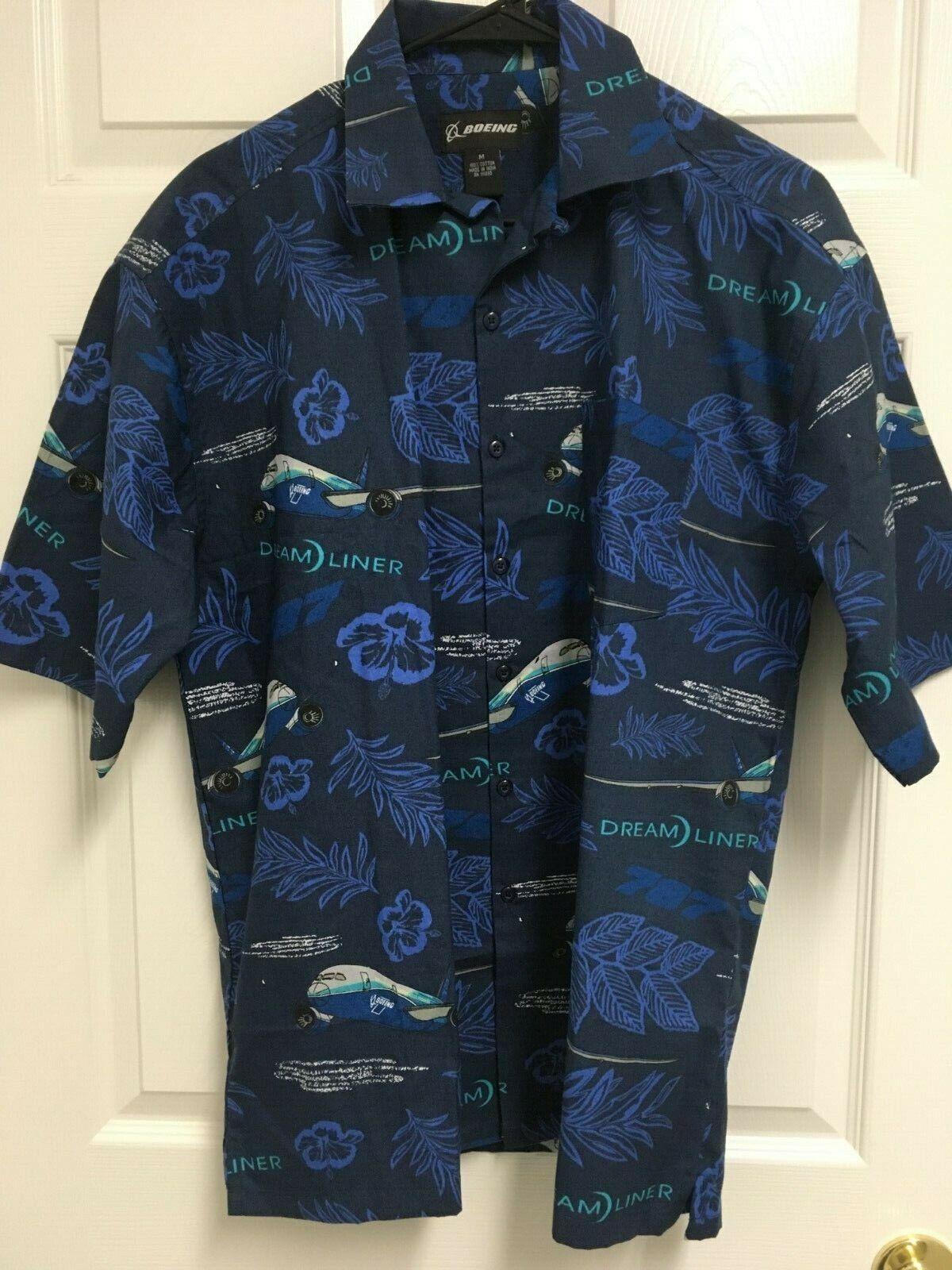 BOEING Dream Liner bluee Men Button Front Short Sleeve Hawaiian Camp Shirt S