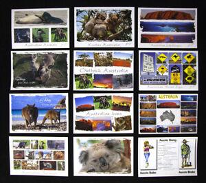 12-x-Australian-Postcards-Kangaroo-Koala-Sydney-Uluru-Melbourne