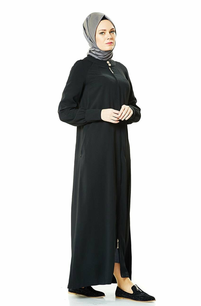 V-677 tesettür fermuarli ferace-Hijab-Abaya-collo alto