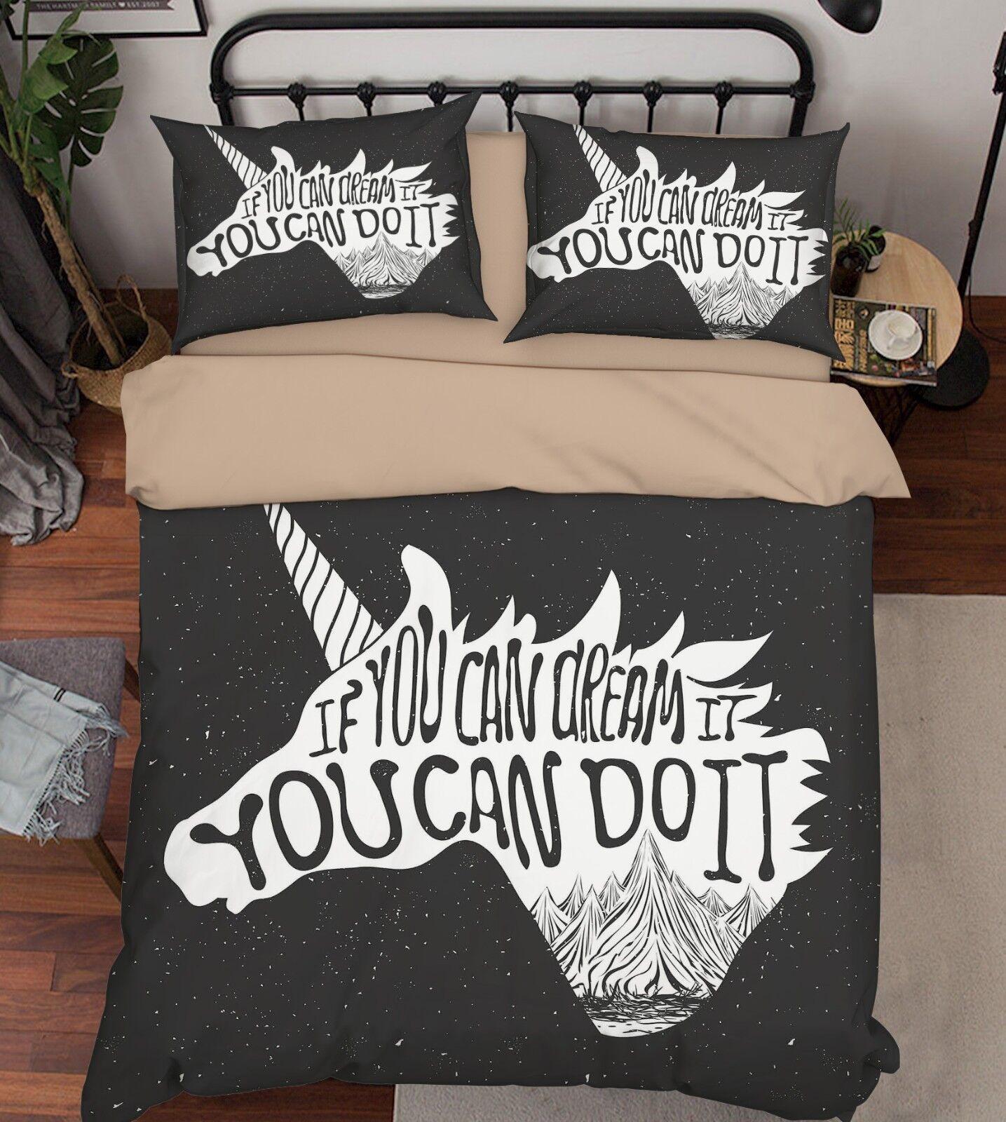 3D Unicorn Head Bed Pillowcases Quilt Duvet Cover Set Single Queen King Size AU