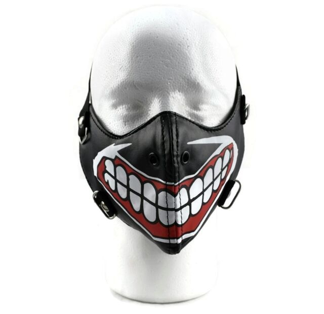 Motorcycle Big Smile Teeth Gothic Punk Bicycle Bike Biker Half Face Black Mask