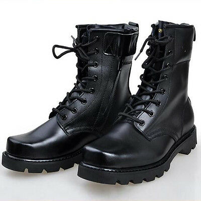 Men's Combat Boots Work Round Lace-Up Boots Military Black winter snow boots New