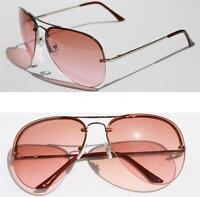 Oceanic fashion Aviator Sunglasses Rimless metal frame Pink Gradient Lens