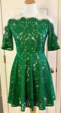 Chicwish Anthropologie Emerald Green Lace Overlay on Beige Retro Dress Sz. S NEW