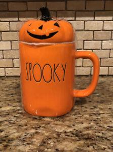 Watch Halloween 2020 Freee New Rae Dunn SPOOKY Orange Mug W/ Pumpkin Topper Halloween 2020