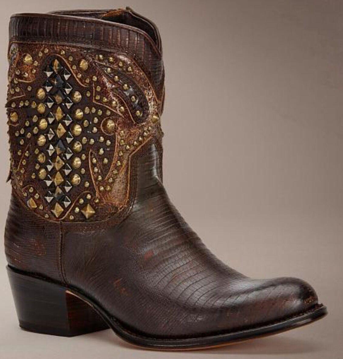 New FRYE Deborah Deco Short Boots Brown Leather 7