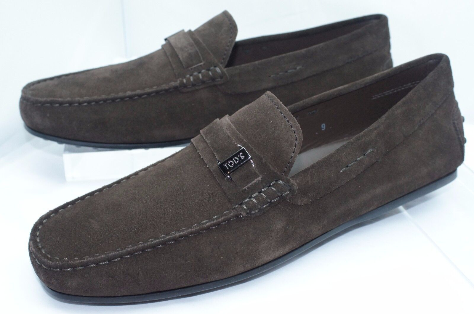 New Tod's Mens shoes Brown Loafers Size 9 Driver Mocassino Plastrina Slip On