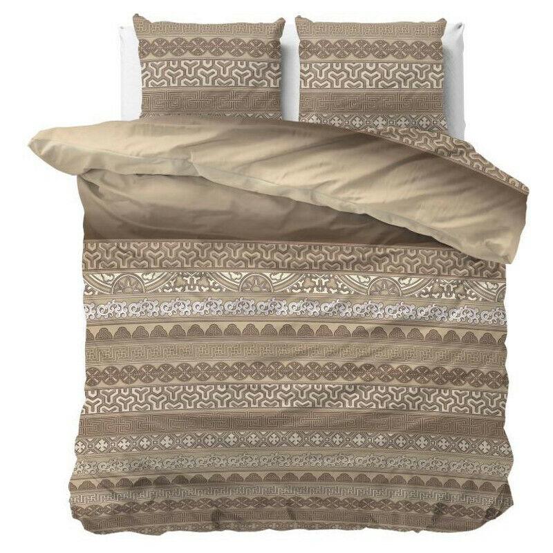 Bettwäsche-Set 2 tlg Baumwolle 135x200 Bettbezug Modern Orientalisch Braun Beige