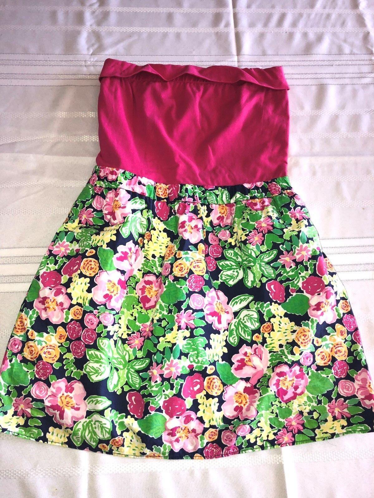 Lilly Pulitzer Esmeralda Fuchsia Jersey & Floral Print Strapless Dress S Small