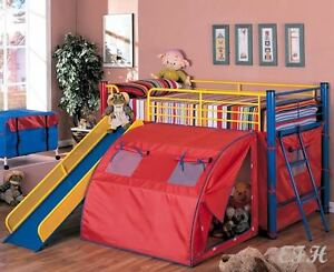 New Alvin Multicolor Metal Play Tent Loft Twin Size Bunk