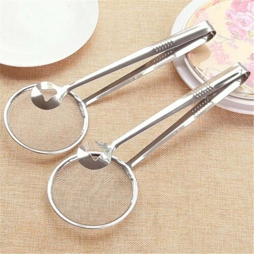 Stainless Steel Spoon With Clip Food Kitchen Oil Frying Salad BBQ
