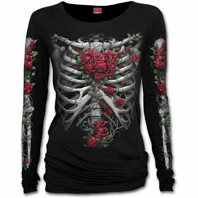 Spiral Direct Red Rose Bones Skeleton Ribcage Heart Black Boat Neck Top T-Shirt