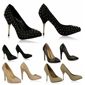 Ladies-High-Heel-Shoes-Women-039-s-Quality-Spike-Stud-Court-Shoes-Wedding-Party-Shoe