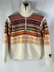 CAMPAGNOLO-ITALY-NORDIC-SKI-JUMPER-SOFT-KNIT-WOOL-SWEATER-ZIP-NECK-Size-S-M-DB8
