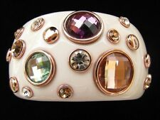 GORGEOUS Cream Lucite Resin Wide Cuff Bracelet Bezel Austrian Crystal Plated