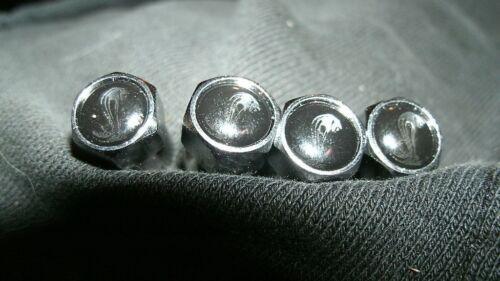 FORD MUSTANG SHELBY COBRA SNAKE LOGO BLACK CHROME VALVE STEM CAPS VINTAGE SET 4p