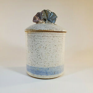 Robin-Beckett-Morning-Glory-Lidded-Canister-Approx-7-034-Tall-Studio-Art-Pottery