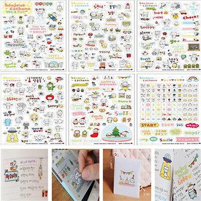 Interesting Transparent Pig Calendar Diary Book Scrapbook Cute Sticker 6 Sheet