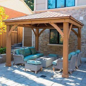Cedar Wood 12 X 12 Gazebo With Aluminum Roof By