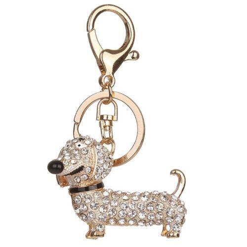 Bling Dog Dachshund Keychain Handbag Purse Pendant Car Holder Key Ring  Jewelry