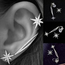 Fashion Women Punk Gothic Snowflake Rhinestone Clip Ear Studs Cuff Wrap Earrings