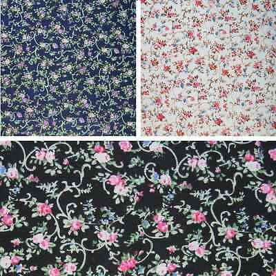 Pink /& Purple Roses With Embroidered Swirls Floral 100/% Cotton Fabric 140cm Wide