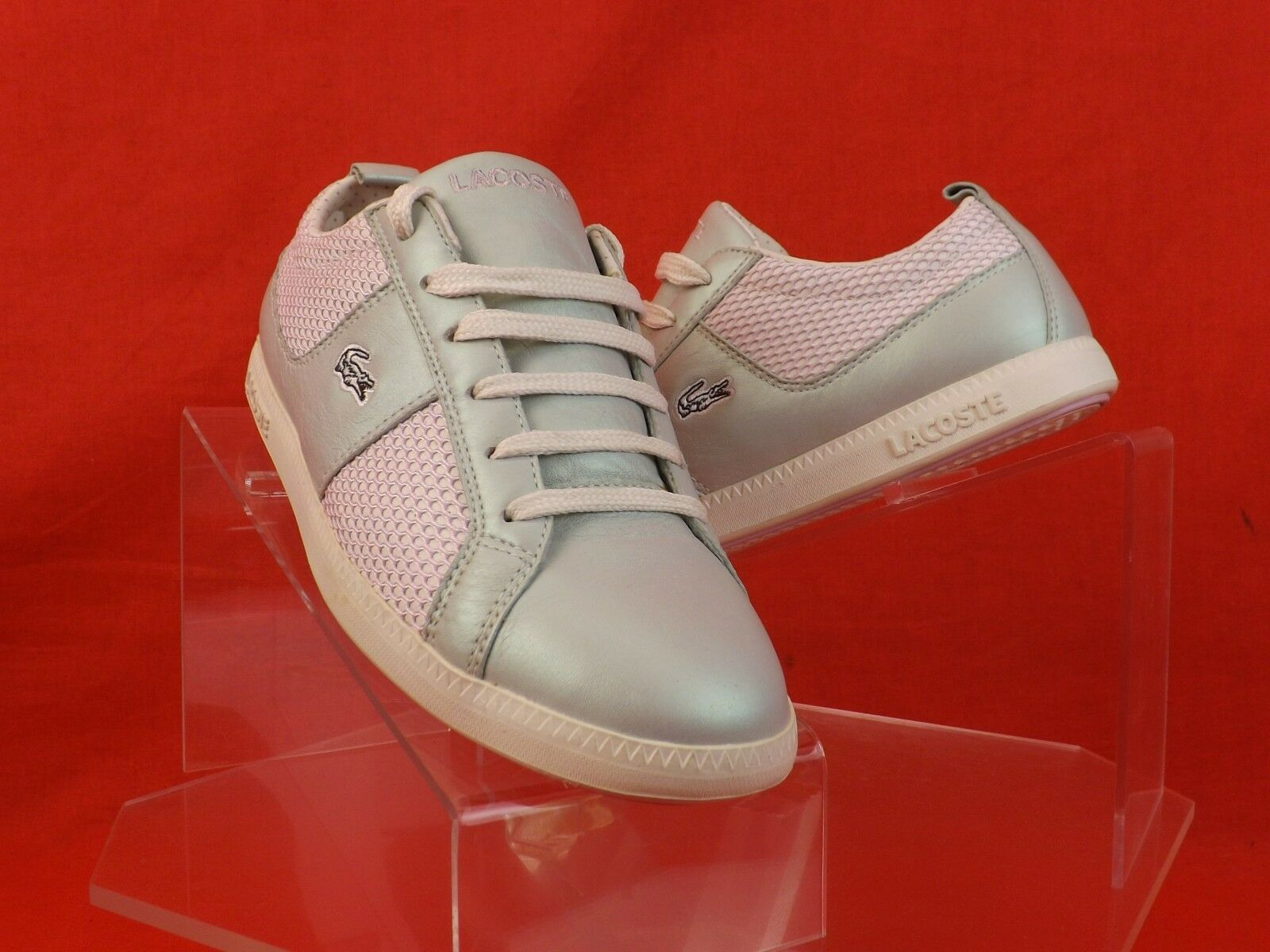 NWB LACOSTE PEARL PINK MIX OBSERVE LACE UP SNEAKERS 6