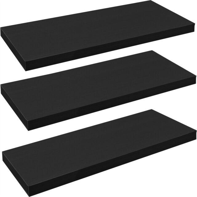 Pack of 3 Floating Wooden Wall Shelves Shelf Wall Storage 80cm - Black