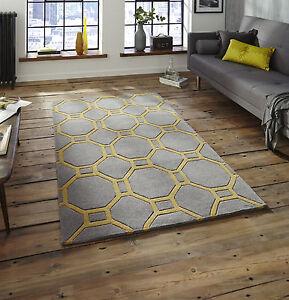Image Is Loading Hong Kong Rug 4338 Grey Yellow Mustard 120x170