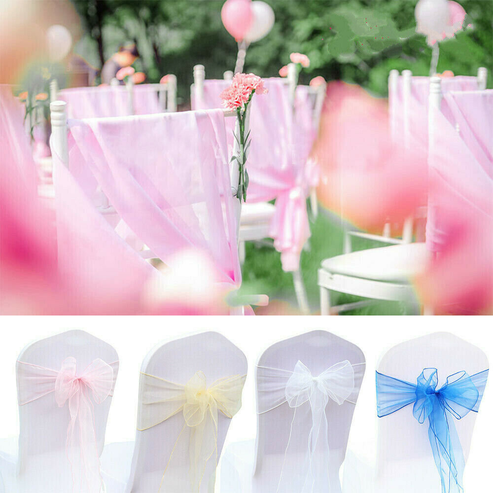 100 X Organza Sashes Chair Cover Bow Sash WIDER FULLER BOWS Wedding Party