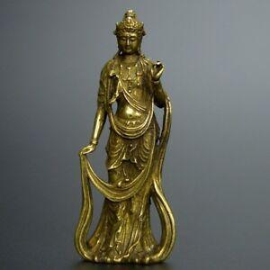 Chinese-old-collection-handwork-bronze-Guanyin-Bodhisattva-pocket-statue