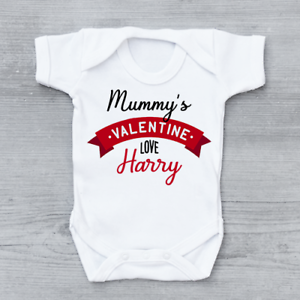Mummy's Valentine Personalised Baby Grow Bodysuit Vest Valentine's Day Valentine