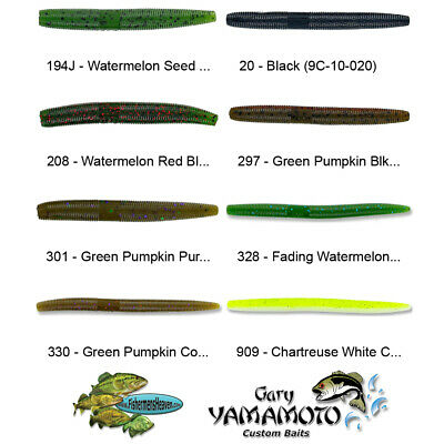 Yamamoto Senko 9M-10-369 Green Pumpkinseed with Red Flake 5 Inch Thin Lures